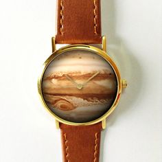 Planet Jupiter Watch, Vintage Style Leather Watch, Women Watches, Unisex Watch, Boyfriend Watch, Galaxy