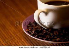 Coffee cup heart - stock photo