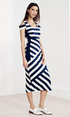 Karen Millen Spring | Summer 2016 - Striped midi dress