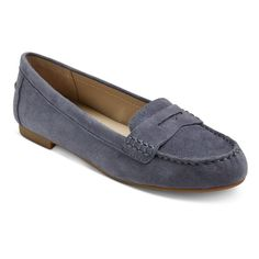 Women's Mountain Sole Matilda Suede Moccasins - Blue 8.5