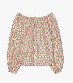 Printed Silk Twill Blouse | Tory Burch St Vincent Grenadines, Bow Blouse, Miller Sandal, My Wardrobe, Capsule Wardrobe, St Kitts And Nevis, Boho Shorts, Off The Shoulder, Tory Burch