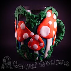 Handmade Polymer Clay Mushroom Forest Tankard, holds 1 Pint, glass interior and drinking lip. Fine to wash by hand (not dishwasher safe), Glows in the Dark. £34 Plus £3.50 P+P 2nd class post.