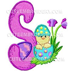 Free Embroidery Design: Cute Easter Font – Letter S