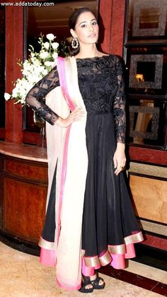 Nargis Fakhri in Black Lace JADE Anarkali Gorgeous for after wedding dawats/parties India Fashion, Ethnic Fashion, Asian Fashion, Style Fashion, Pakistani Outfits, Indian Outfits, Western Outfits, Indian Attire, Indian Wear