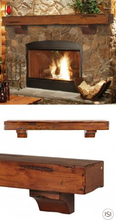 The Shenandoah Fireplace Mantel Shelf will make all your rustic cabin dreams com. - The Shenandoah Fireplace Mantel Shelf will make all your rustic cabin dreams come true. Rustic Fireplace Mantels, Cabin Fireplace, Farmhouse Fireplace, Fireplace Remodel, Fireplace Surrounds, Fireplace Design, Fireplace Stone, Christmas Fireplace, Fireplace Ideas
