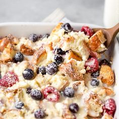 Mixed Berry Overnight Croissant Breakfast Bake - make this up the night before for an easy breakfast the next morning!
