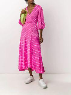 Essentiel Antwerp Polka Dot Wrap Dress - Farfetch Dress With Sneakers, Pink Polka Dots, Wrap Style, Pink Dress, Wrap Dress, Women Wear, Upcycle, Fashion Design, Outfits
