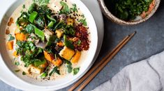 Sweet Potato + Kale Green Curry with Tofu - in pursuit of Tofu Recipes, Vegetarian Recipes Easy, Tofu Green Curry, Potluck Salad, Sweet Potato Kale, Kale Soup, Asian Cooking, Yams, Dinner