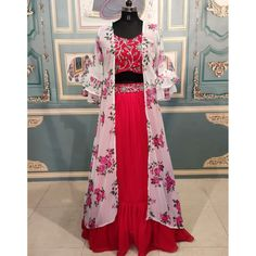 Red georgette lehenga choli with floral printed shrug Red Crop Top, Crop Tops, Red Lehenga, Party Wear, Bell Sleeves, Jackets For Women, Formal Dresses, Blouse