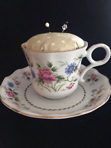 New Vintage Tea Cup Pin Cushion Blue Pink Floral Green Fabric Fine China Sewing | eBay