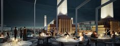 View from Battersea Power Station's art'otel's double height bar and restaurant across the London skyline and the main Power Station building