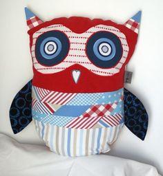 Red white and blue owl inspiration - Wielka SOWA ! Poduszka ozdobna