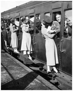 This the very famous yet, cliche picture of women telling their soldiers goodbye. In the 1920s war was practically over. the 1920s is when America was trying to recover and rebuild themselves up.