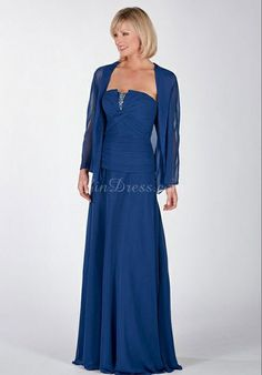 With A Wrap Long Strapless Crystals A-line Dropped Waist Mother Of The Bride Dress picture 1
