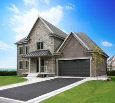 Portes de garage Garex / Modèle Premium / Brun commercial / fenêtres: scellées 8 carreaux peinturées/ cadres peinturés brun / www.garex.ca
