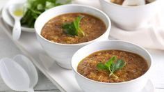 Quinoa, amaranth, roasted tomato and bell pepper soup recipe from Ancient Grains.