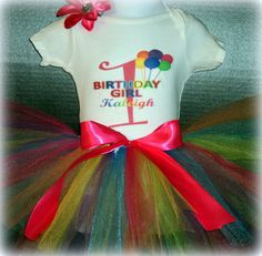 Rainbow Birthday Tutu Outfit  Any Color by funfashionsetc on Etsy, $35.95