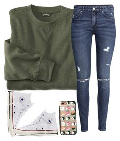 """""""How is this setup?"""" by meljordrum ❤ liked on Polyvore featuring H&M, Converse and Casetify"""