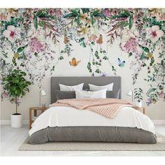 Custom Wallpaper, Wall Wallpaper, Bedroom Wallpaper Feature Wall, Flower Wallpaper, Wallpaper Design For Bedroom, Wallpaper Ideas, Wallpaper For House, Wallpaper Designs For Walls, Bedroom Wallpaper Murals