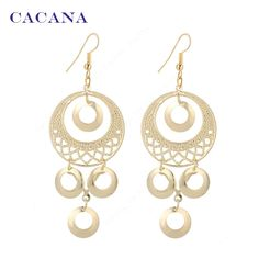 CACANA Gold Plated Dangle Long Earrings For Women Roung Shape Top Quality Bijouterie Hot Sale No A169 A170