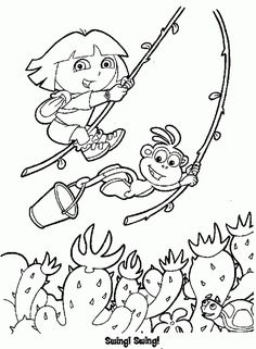 Dora The Explorer Swings On Plant Rope Coloring Pages