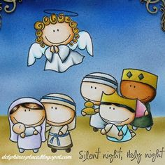 It's Delphine here today, to share a fun nativity scene - Copics as I like doing! No DPs, but a bit of airbru. Christmas Nativity, Christmas Love, A Christmas Story, Christmas Pictures, Homemade Christmas, Christmas Holidays, Christmas Crafts, Christmas Decorations, Christmas Bells