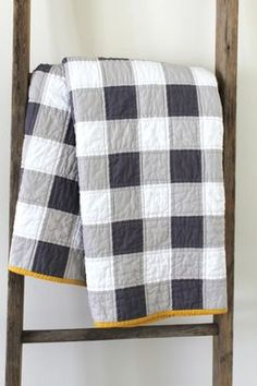 Gingham Quilt, simple with 3 colors and contrasting thread. More