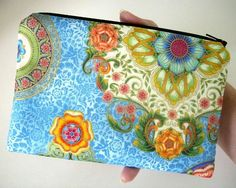 Unique Zipper Pouch Coin Purse Gadget Case ECO Friendly Padded OOAK Blue Flower Mosaic by JPATPURSES, $16.00