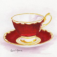 Tea cup and saucer in red scarlet, watercolor painting by artist Carol Moore.