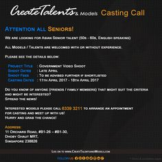 We are looking for Asian Senior talent (50s - 60s, English speaking) for Government Video Shoot