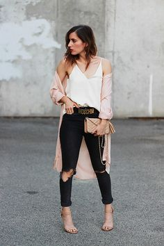 Emily S - Ksubi Black Ripped Denim Jeans, Grana White Silk Cami, Pink Trench, Moschino Belt - Valentine's Day Look