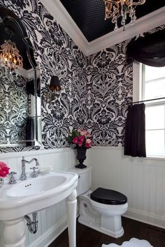 Shabby Chic Your Heart Out traditional powder room.so I redecorate our hall bathroom more than any other room in the house! - My-House-My-Home Bad Inspiration, Bathroom Inspiration, Interior Inspiration, Bathroom Ideas, Design Bathroom, Small Bathroom, Bathroom Interior, Modern Bathroom, Bathroom Organization