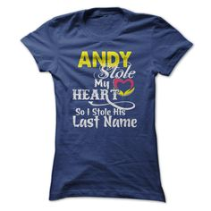 [Best tshirt name meaning] ANDY stole my heart T-shirt Teeshirt Online Hoodies, Funny Tee Shirts