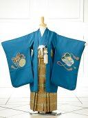 753七五三男児sftm094藍色に風鷹/蜀江紋袴