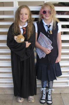 Luna Lovegood and Hermione Halloween costumes. These trouble makers are too cute. @Danielle Shnaper can we?