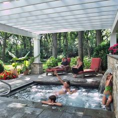 Fabulous Small Backyard Designs with Swimming Pool A Fiberglass Pergola With Hot Tub. Design Ideas, Pictures, Remodel, and Decor - page 13 Inground Hot Tub, Small Inground Pool, Small Backyard Pools, Jacuzzi, Backyard Patio, Hot Tub Backyard, Small Backyards, Outdoor Pool, Outdoor Spaces