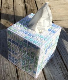 Shades of Blue Tissue Cover handmade Boutique size acrylic yarn & canvas  | eBay