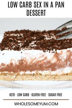 Learn how to make sex in a pan dessert - easy and sugar-free! And, this chocolate sex in a pan recipe is one of the best low carb desserts ever. If you're looking for delicious keto desserts that…More 8 Easy Keto Friendly Chocolate Dessert Recipes Keto Desserts, Keto Friendly Desserts, Sugar Free Desserts, Sugar Free Recipes, Easy Desserts, Low Carb Recipes, Easy Keto Dessert, Sugar Free Baking, Vegan Recipes