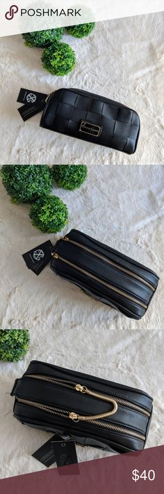 Christian LaCroix Double Zip Weave Make up Bag NWT. Double zip with gold hardware. Perfect for your make-up and make-up brushes at home or while travelling.  Comes from a smoke-free and pet-free home. Bundle for private discount and reasonable offers are always welcome. Christian Lacroix Makeup