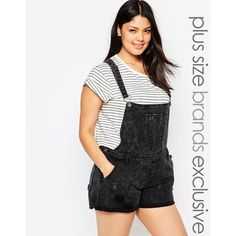 Alice & You Printed Black Washed Overall Short (£19) ❤ liked on Polyvore featuring jumpsuits, rompers, black, plus size, black rompers, overall, plus size womens overalls, shorts overalls and short overalls
