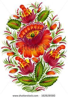 high resolution, hand drawn illustration in Ukrainian folk style by VectorFlower, via ShutterStock
