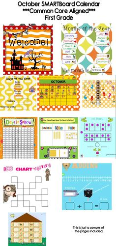 This 28 page SMARTBoard calendar is all you'll need to begin each day of October with a rigorous yet engaging start. It is aligned with CCSS. Common Core First Grade Math Standards addressed:1.O.A.1, 1.O.A.5, 1.O.A.6, 1.N.B.T.1, 1. N.B.T.2, 1. N.B.T.3, 1. N.B.T.5, 1.N.B.T.6, 1.M.D.3, 1.M.D.4  Common Core First Grade ELA Standards addressed:  1.R.F.2, 1.R.F.3, 1.R.F.4, 1.S.L.6, 1.L.2, 1.l.6