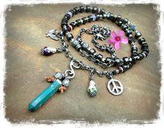 Chrysocolla Crystal NECKLACE Buddha spirit Hematite PEACE sign Angel Wings Tribal Boho Long necklace Statement Hippie artisan jewelry GPyoga...