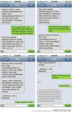 Thor and Iron Man text messages. lol i laughed so hard! Dc Memes, Marvel Memes, Marvel Comics, Lol, Marvel Films, Marvel Cinematic, It Goes On, Laughing So Hard, Jokes
