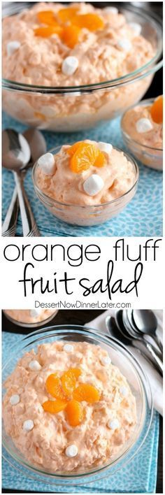 This Orange Fluff Fruit Salad can be thrown together quick, with only 6 to 7 ingredients, and is a potluck favorite! This Orange Fluff Fruit Salad can be thrown together quick, with only 6 to 7 ingredients, and is a potluck favorite! Jello Desserts, Jello Recipes, Dessert Salads, Fruit Salad Recipes, Fruit Snacks, Dessert Recipes, Fruit Salads, Fruit Fruit, Orange Jello Salads