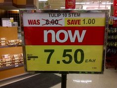 Would you rather save $0.50 or $1.00 on your tulips? #math #mathmistake
