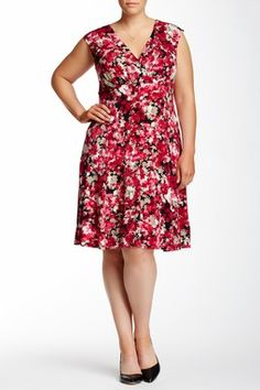 London Times Floral Print V-Neck Fit & Flare Dress (Plus Size)