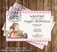 Charlott'e Web Some Girl Birthday Party Invitation Printable Birthday Party Invitations, Baby Shower Invitations, Birthday Parties, Birthday Ideas, Themed Parties, Charlottes Web, Label Paper, Personalized Invitations, Some Girls