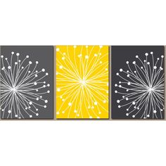 DANDELION Wall Art, CANVAS or Prints Gray Yellow Bedroom, Bathroom... ❤ liked on Polyvore featuring home, home decor, wall art, three piece wall art, flower wall art, flower picture, blossom wall art and canvas wall art