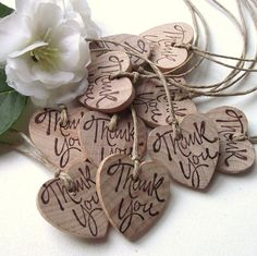 Rustic Wood Heart Gift Tags - Hand Stamped Wooden Thank You Favor Tags with Twine (Qty of 10) - Perfect for boxes, bags, and more. $8.25, via Etsy.